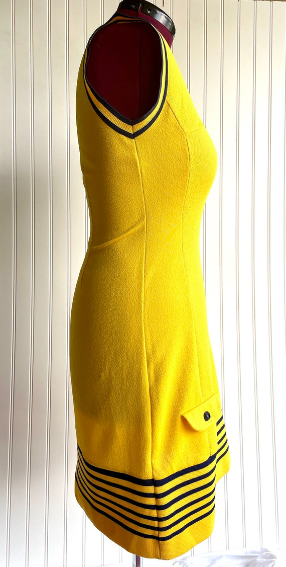 Vintage 1970s Bright Yellow and Blue Athletic Shi… - image 2