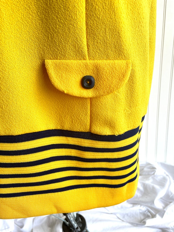 Vintage 1970s Bright Yellow and Blue Athletic Shi… - image 4
