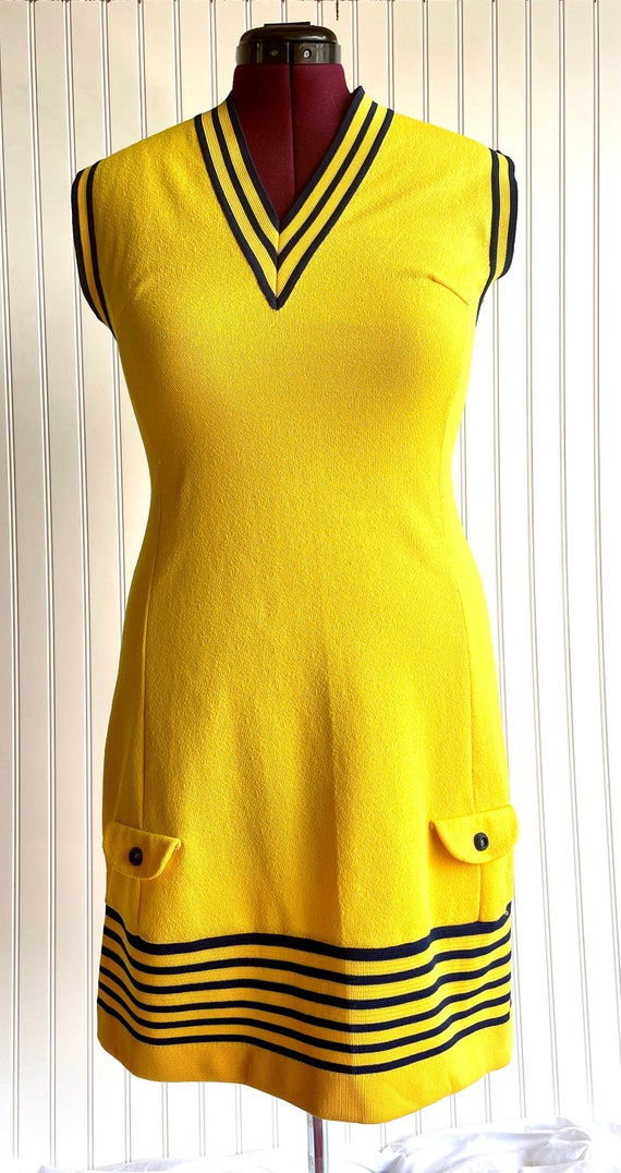 Vintage 1970s Bright Yellow and Blue Athletic Shi… - image 1