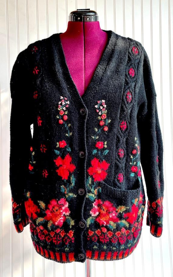 Vintage 1980s Laura Ashley Black Floral Cardigan