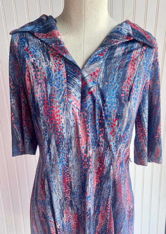 Vintage 1970s Blue and Red Zip Dress