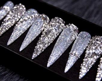 XXL Stiletto Ultra Shine Press On Nails | Glue On Nails | Crystal Long Stiletto Nails | Festive Nails | Fun Nails | Luxury Nails A240