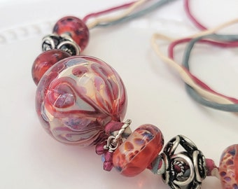 translucent pink big bead lampwork necklace OOAK | Free US Shipping