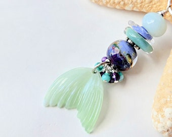 mermaid tail necklace, blue, green, purple | Free US Shipping
