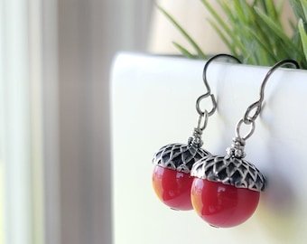 acorn earrings with red vintage Lucite