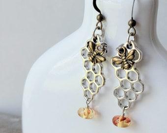 Honeycomb Bee earrings | Free US Shipping