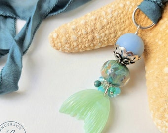 mermaid tail necklace blue green | Free US Shipping