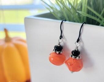 Halloween Harley orange and black earrings | Free US Shipping
