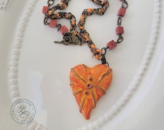 orange and red heart necklace and earring set | Free US Shipping