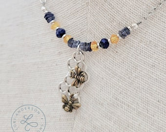 Honeycomb Bee Necklace with Iolite, Lapis, and Citrine | Free US Shipping