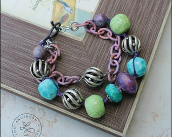 purple, green, and blue ceramic and lampwork bead bracelet OOAK | Free US Shipping