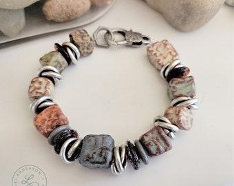 Chunky earth tone ceramic bracelet OOAK | Free US Shipping