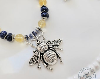 Bee Necklace with Lapis, Citrine, and Iolite | Free US Shipping