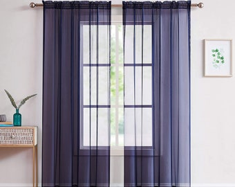 """DecoSource - 2 Rod Pocket Sheer Curtains Panels (56"""" W x 108"""" L - Each Panel, Navy)  Voile Curtains for Window Treatment"""