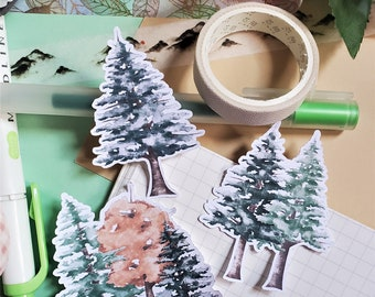Fall Themed Watercolor Stickers-Pine Trees-Matte Stickers