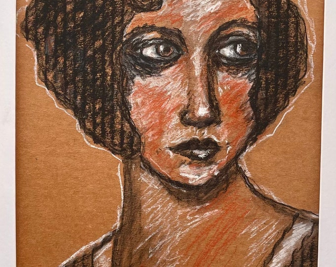 Spit Curl: charcoal and conte crayon drawing