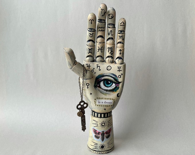 Palmistry Hand: mixed media assemblage