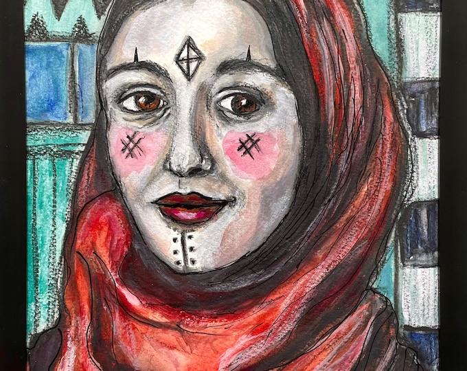 Amazigh Woman: original mixed media painting
