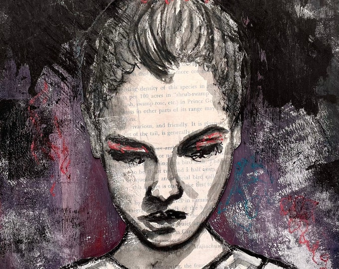 Words Inside Her: original mixed media painting