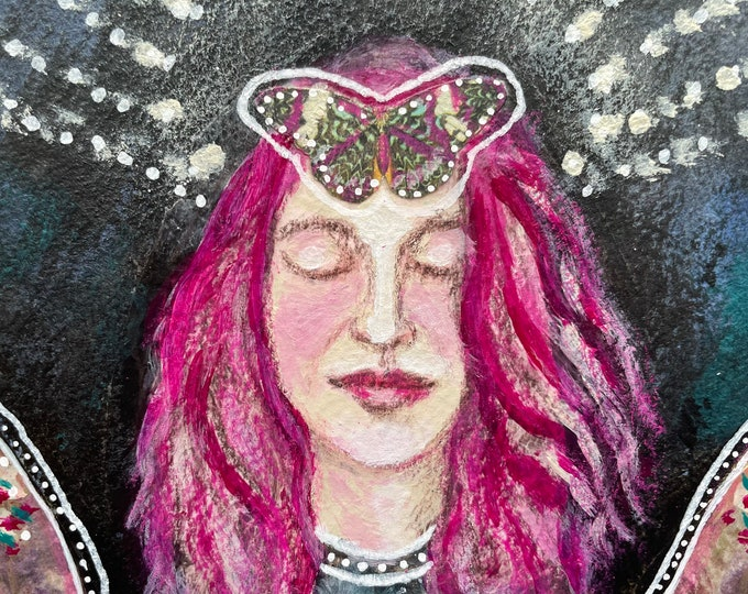 How I Became A Butterfly: original mixed media painting