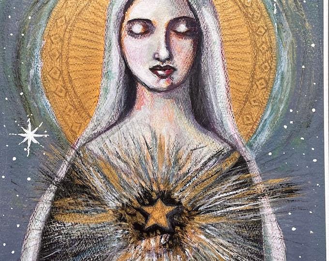 Queen of Heaven: original mixed media painting