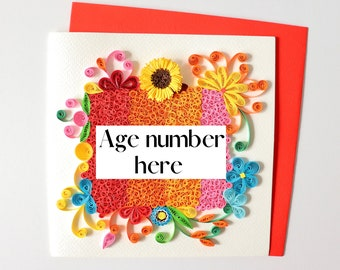Personalised Birthday Card, Customised Quilling Card, Age Number Birthday Gift Card, Floral Birthday Card, Special Occasion Milestone Card