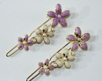 Three Flowers Hair Pins (Set of Two)