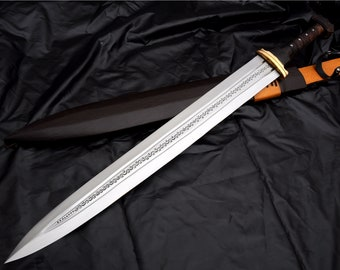 Hand forged Viking sword-24 inches Blade historical Viking sword-Replica sword-Battle Ready sword-forged-leaf spring-Tempered-Sharpen-Nepal