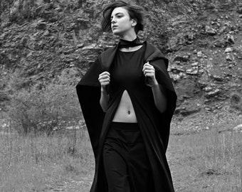 Avant garde high slit choker top | Long black top