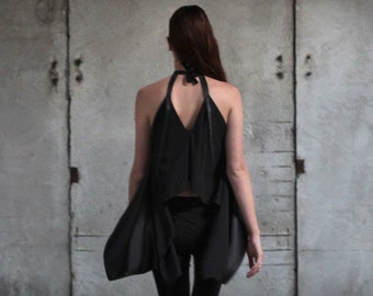 Black satin top with a choker | Halter top with leather | Slow fashion