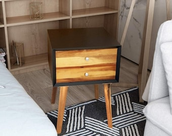 nightstand mid century for living room, nightstand with drawers, nightstand wood with drawers