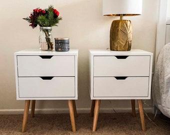 White nightstand pair with drawers,  white nightstand set of 2