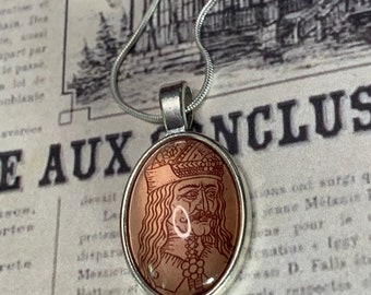Dracula Vlad Dracul Victorian inspired Glass cabochon pendant necklace