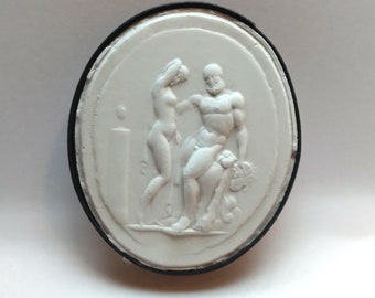 P248, Zeus and Iole, cameo, plaster cast, Intaglio, impression from the Intaglio collection of James Tassie (1735-1799)