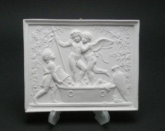 """Plaster relief """"Putten beim Keltern"""", copy after Berthel Thorwaldsen (1770-1844)"""