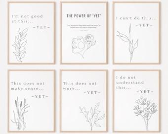 Power of Yet Posters (set of 6) Digital Download | Growth Mindset | Classroom Decor | Decoration | Classroom Wall Art | Motivational | Print