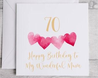 Happy 70th Birthday Card Mum - Pink Hearts