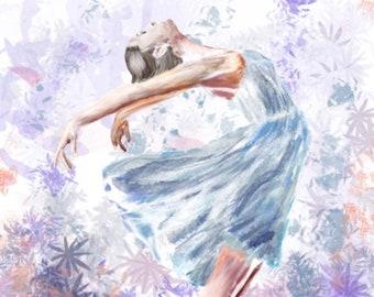 Ballet dancer in blue, original, digital art print