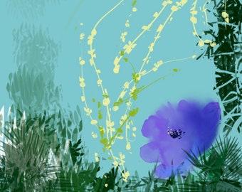 Purple flower, original, digital art print