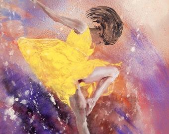 Ballet dancer in yellow dress, original, digital art print, colorful background