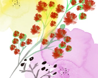Red flowers original, digital art print, perfect for any room. Water-colour design. Wall art.