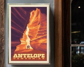 Antelope Canyon, Arizona Print Poster, Minimalist National Park Posters Wall Decor