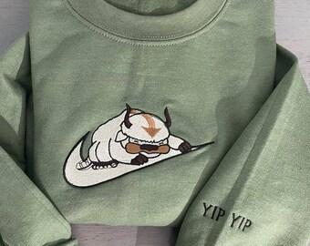 Appa Avatar Embroidered sweatshirt, Bison custom design sweatshirt, yip yip Appa sweatshirt
