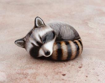 Sleeping raccoon - handmade animal figurine