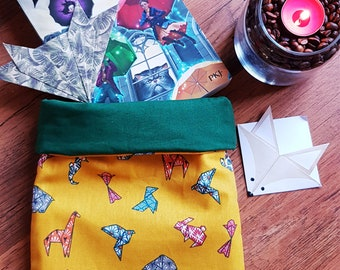 Book pouch cotton fabric lined in printed ouatine Animals Origami
