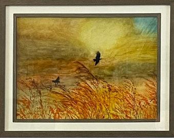 Black Birds in Orange Field
