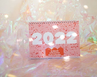 Perfectly Imperfect Pink and Red Terrazzo Print 2022 A5 Desk Calendar