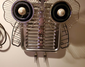 Owl wall art, one of a kind sculpture. It also doubles as a clock.