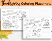 Thanksgiving Coloring Placemats, Printable Placemats, Kids Placemats, Coloring Placemats, Thanksgiving activities, Digital download