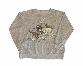 Vintage 80's Winter Animals Crewneck Sweatshirt Men's Medium
